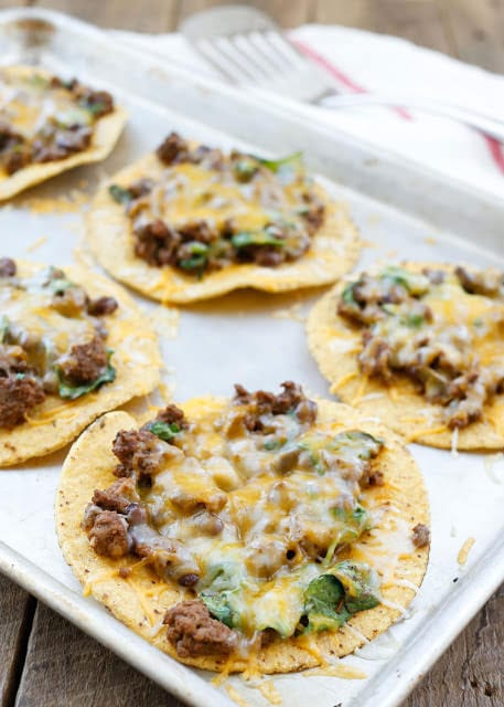 Beef Black Bean and Spinach Tostadas {Barefeet in the Kitchen}