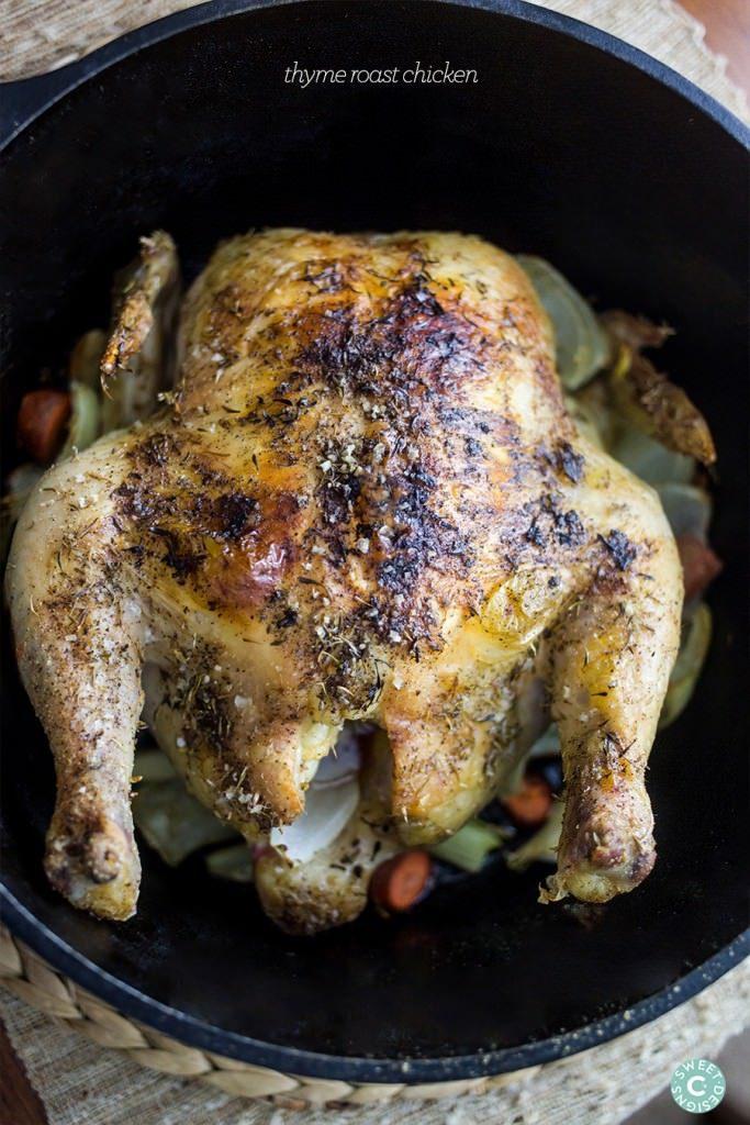 Fool Proof Thyme Roast Chicken {Sweet C's Designs}