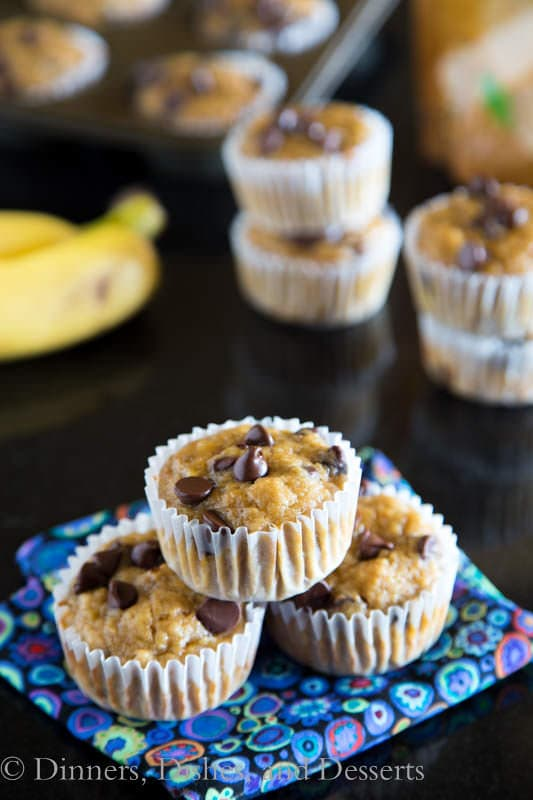 banana peanut butter chip muffins on a napkin