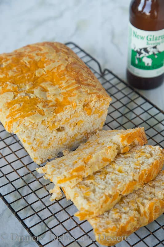 Easy Cheddar Beer Bread - Just 4 ingredients for this super easy beer bread!