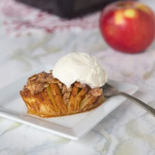 hasselback apples pie on a plate