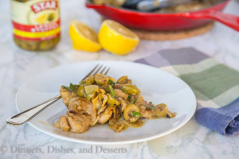 Lemon Chicken Skillet with Artichokes and Green Olives {Dinners, Dishes, and Desserts}
