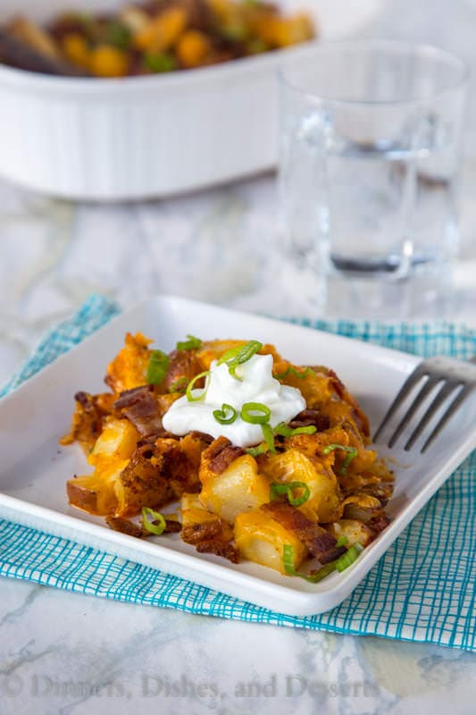 Loaded Chicken Casserole - Loaded baked potatoes turned into a chicken casserole for comfort food any night of the week.