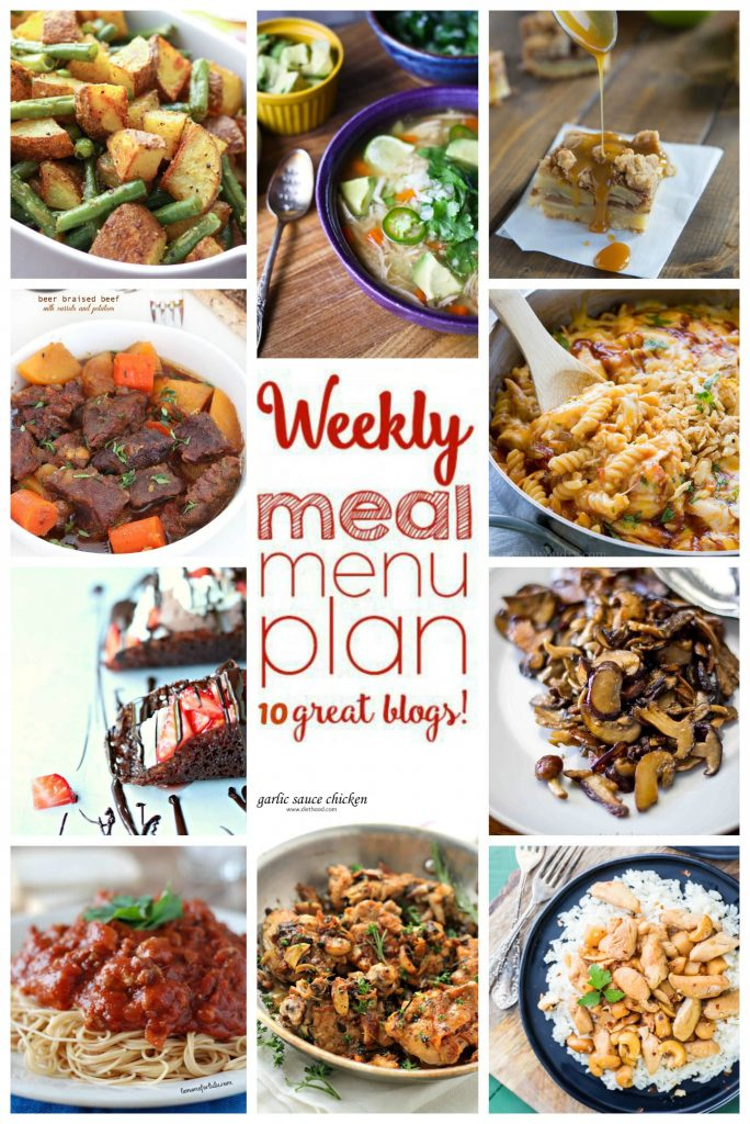 Many different types of food on a plate, with Dinner and Week