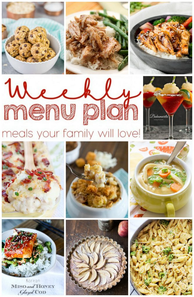 Weekly Meal Plan featuring recipes for Easy Chicken Teriyaki, Korean Miso and Honey Glazed Cod, Slow-Cooker Sweet and Tangy Pork Roast,  Semi Homemade Chicken Noodle Soup, Chicken Broccoli Shells and Cheese, French Onion Mac N' Cheese, Frozen Bahamarita, Twice Baked Cheese and Bacon Mashed Potato Casserole, Easy Apple Tart, and Peanut Butter Banana No Bake Energy Bites!