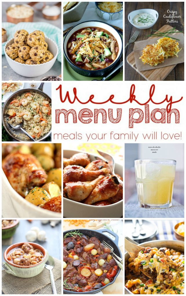 Weekly Meal Plan with recipes for One Pot Beef and Vegetable Skillet, Honey Soy Chicken, Garlic Butter Shrimp and Rice, Honey Baked Chicken and Potatoes, Easy Vegetable Soup with Meatballs, Chili Pasta Skillet, Crispy Cauliflower Fritters, Moscow Mules, No Bake PB Banana Energy Bites, and Maple Apple Skillet Upside Down Cake!