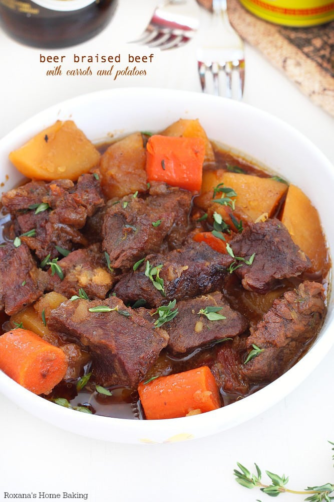 Beer Braised Beef with Carrots and Potatoes {Roxana's Home Baking}