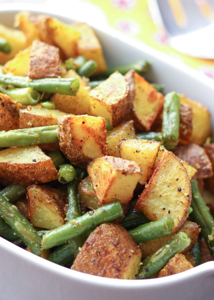 Turmeric Roasted Potatoes with Green Beans {Barefeet in the Kitchen}