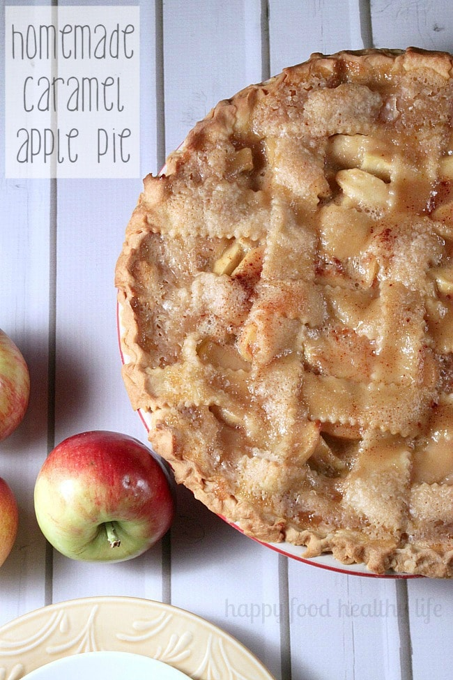 Caramel Apple Pie with a lattice crust surrounded by apples