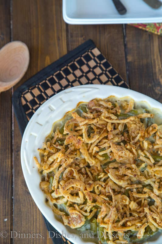 Green Bean Casserole overhead view in a white baking dish