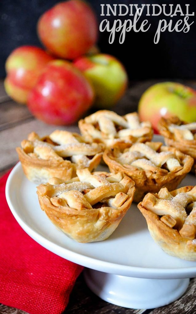 Individual Apple Pies on a cake stand