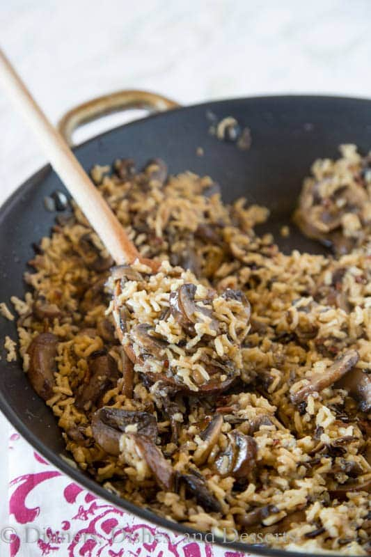 Mushroom Rice Pilaf - an easy homemade rice pilaf with lots of fresh mushrooms! Great side dish recipe for chicken, fish, pork, or beef.