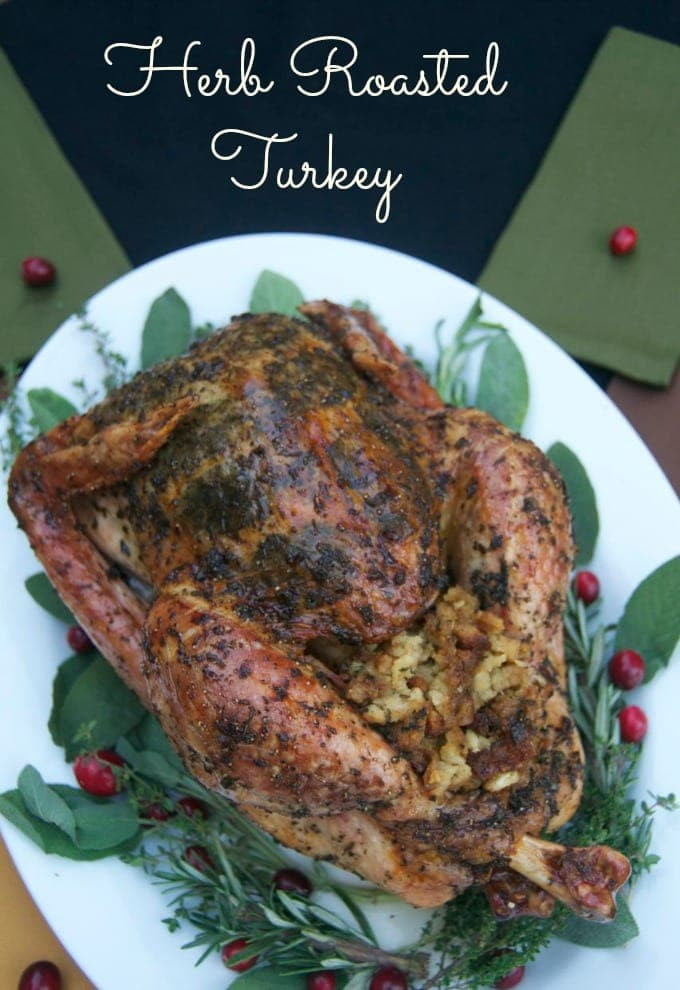 Herb Roasted Turkey on a white platter