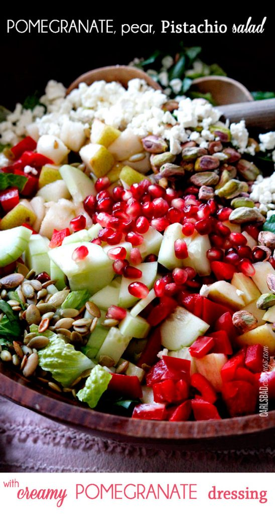 Pomegranate, Pear, Pistachio Salad (with Creamy Pomegranate Dressing)