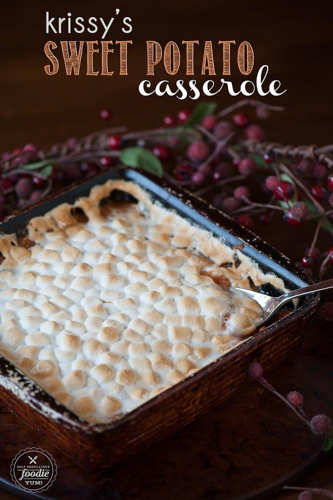 Krissy's Sweet Potato Casserole in a square baking dish