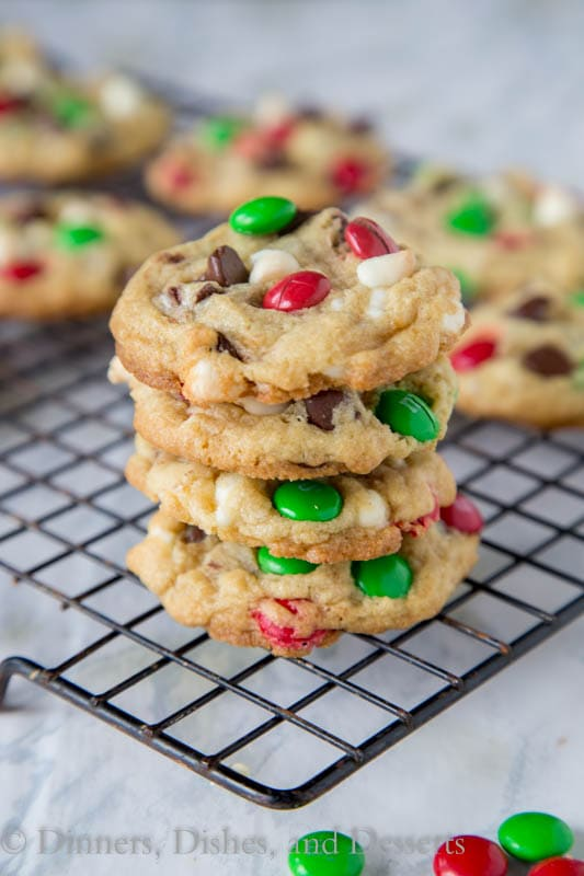 double chocolate m&m cookies on a plate
