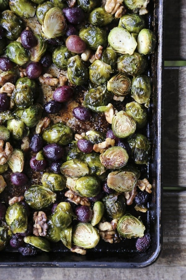 Roasted Brussels Sprouts with Grapes and Walnuts {Foodie with Family}