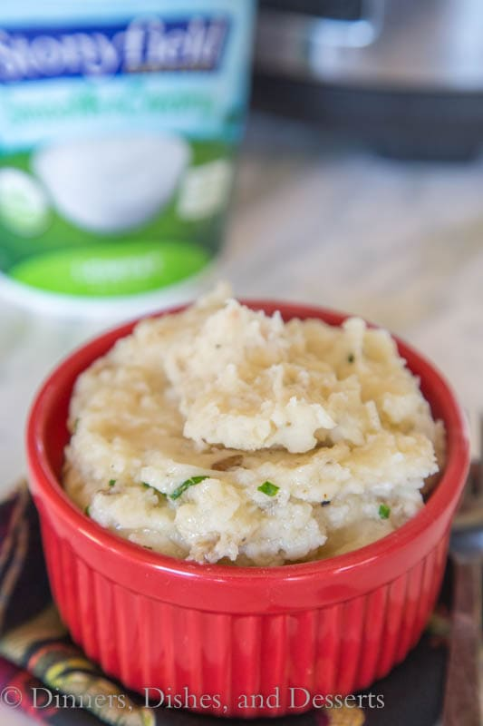 garlicky crock pot mashed potatoes in a bowl