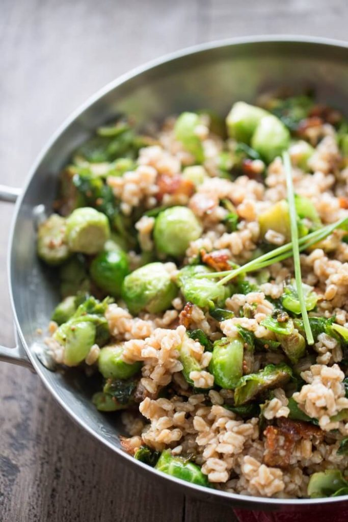 Honey Mustard Brussels Sprouts with Farro {Lemons for Lulu}