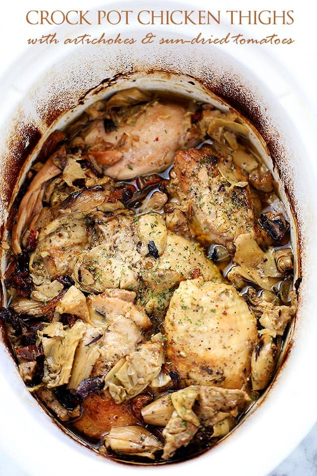 Crock Pot Chicken Thighs with Artichokes {Diethood}