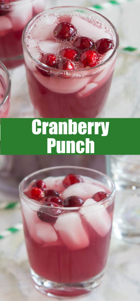 cranberry punch in a glass close up with cranberries on top