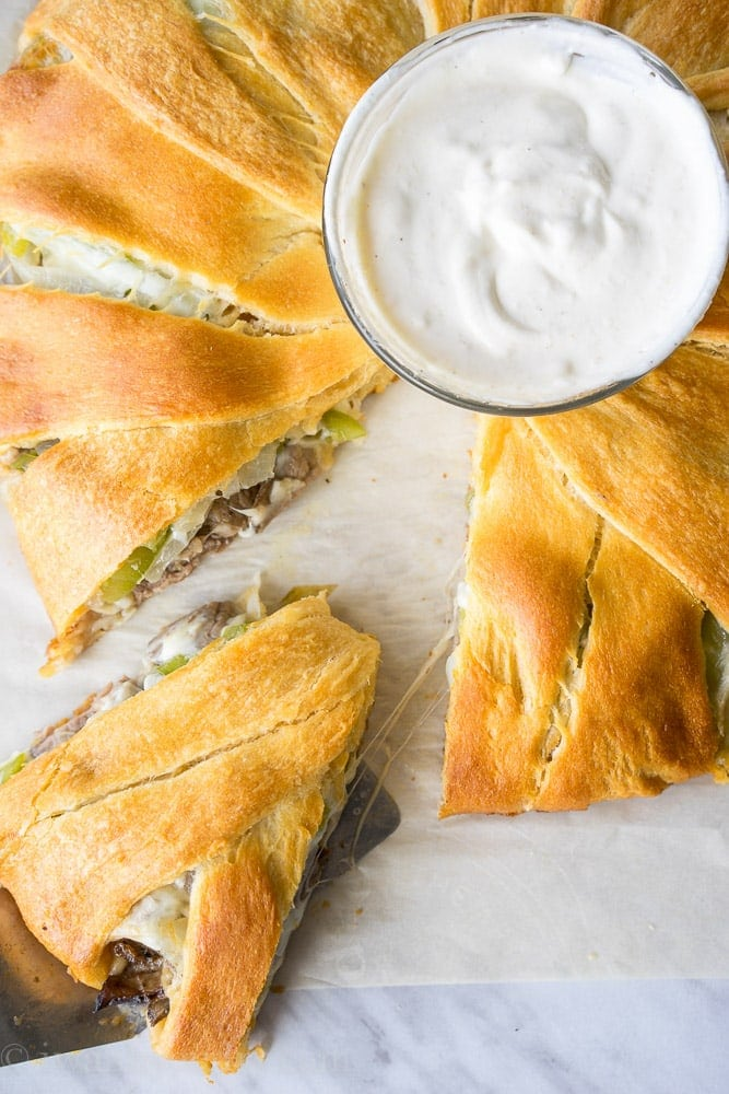 Philly Cheesesteak Crescent Ring {I Wash...You Dry}