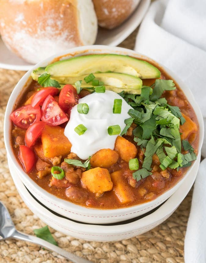 Slow Cooker Sweet Potato Turkey Chili {I Wash... You Dry}