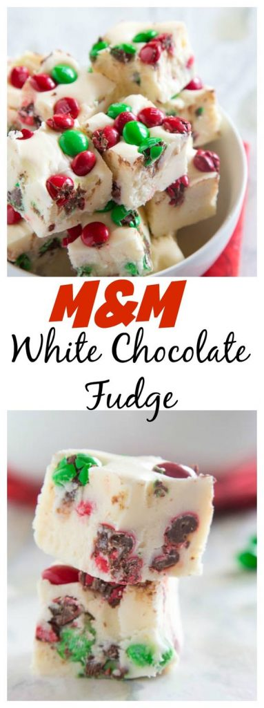 M&M White Chocolate Fudge - Easy sweet white chocolate fudge with lots of festive M&M's