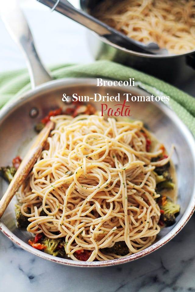 Broccoli and Sundried Tomato Pasta {Diethood}