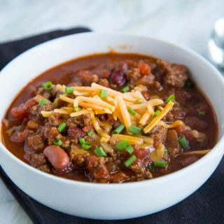 crock pot chili in a bowl