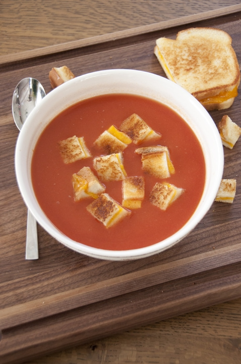 Tomato Soup with Grilled Cheese Croutons {Wishes and Dishes}