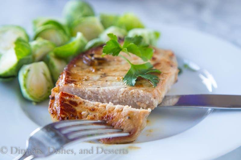 pork chop sliced in half