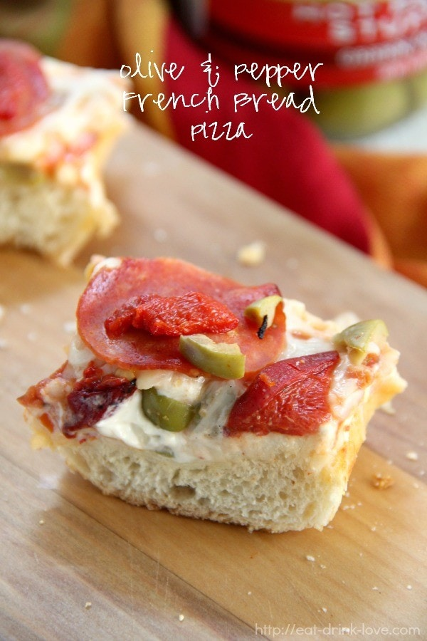 Olive and Pepper French Bread Pizza {Eat. Drink. Love.}