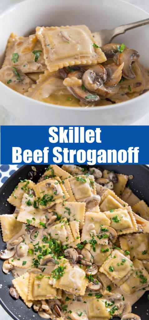 ravioli beef stroganoff in a skillet close up