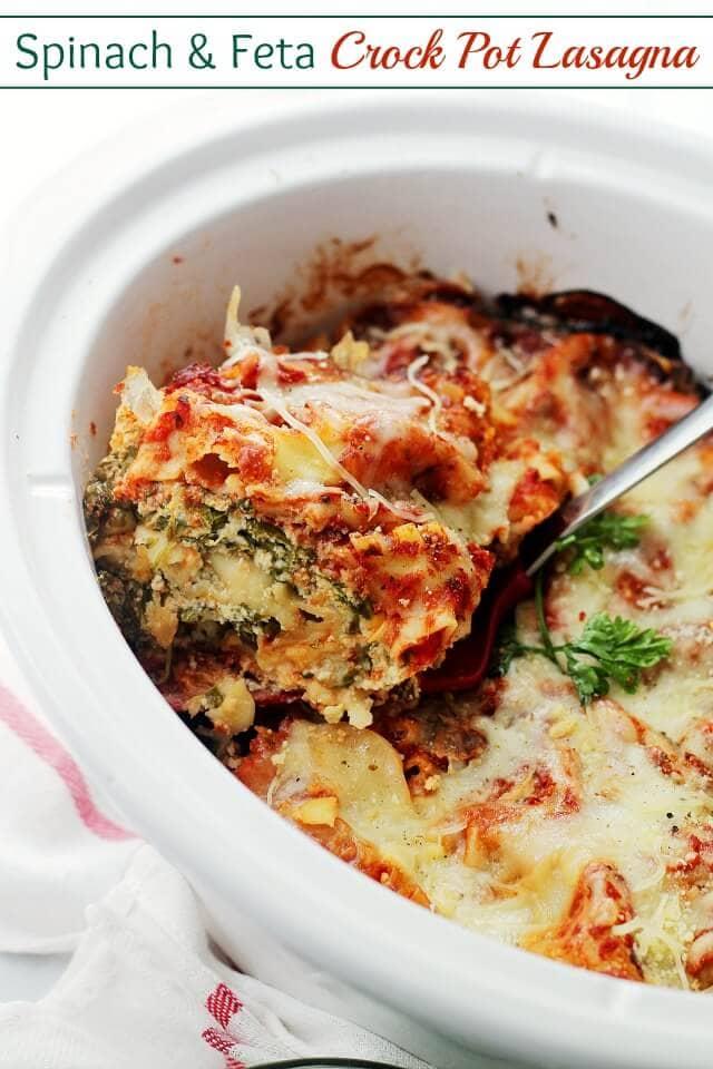 Spinach and Feta Crock Pot Lasagna {Diethood}