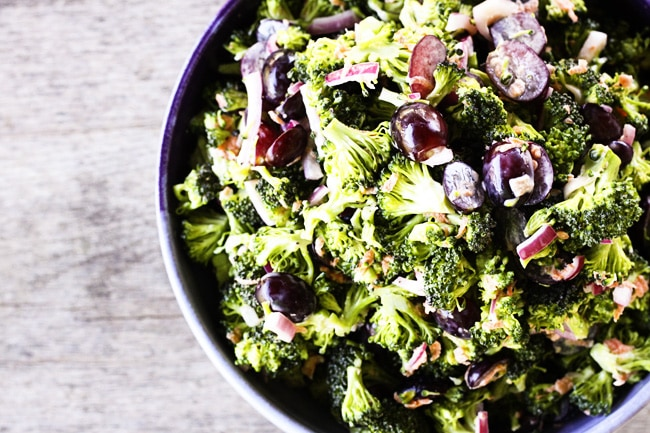 Light Marinated Broccoli Salad with Grapes {Foodie with Family}