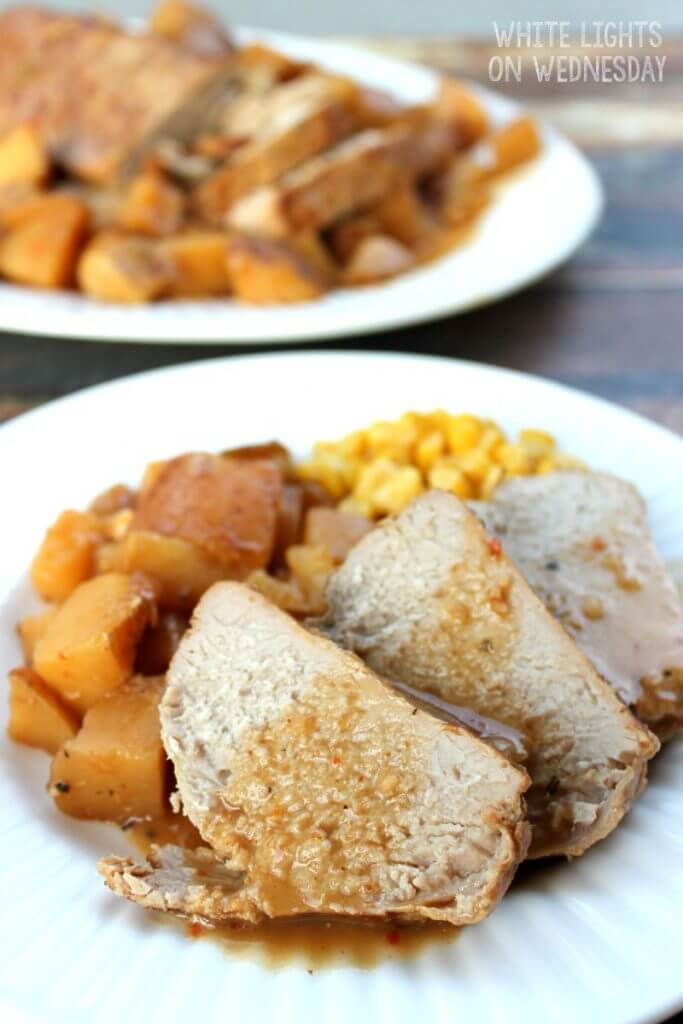 Balsamic Red Pepper Crock Pot Pork Tenderloin {White Lights on Wednesday}