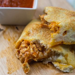 chicken calzone on a plate