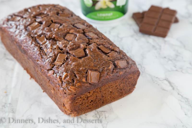 chocolate oatmeal banana bread on a board