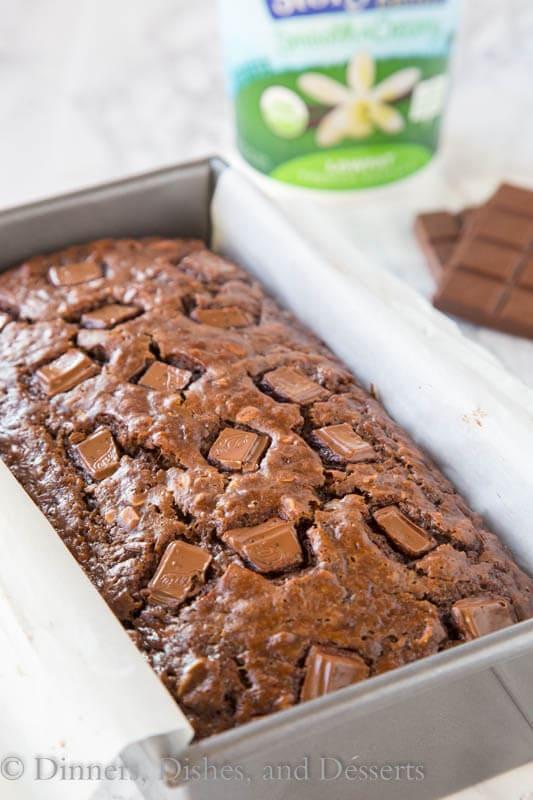 chocolate oatmeal banana bread in a loaf pan