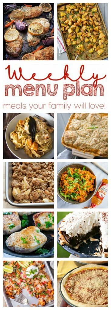 Weekly Meal Plan Week 33 - 10 great bloggers bringing you a full week of recipes including dinner, sides dishes, and desserts!
