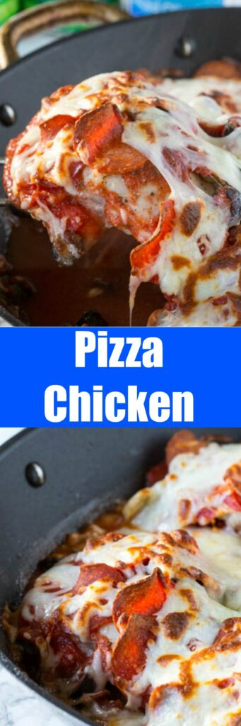One Pan Pizza Chicken - get all the flavor of pizza in a one pan chicken dinner! Super easy recipe with just a few ingredients, to get you through those tough weeknights.
