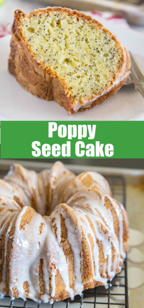 close up of poppy seed cake on a plate