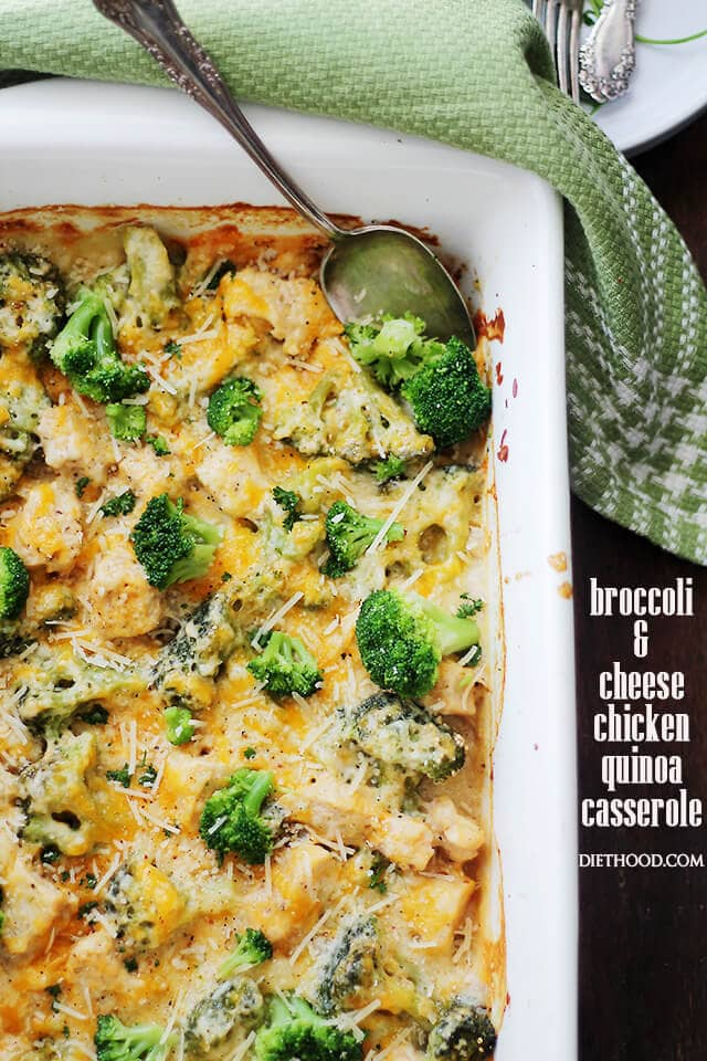 Broccoli and Cheese Chicken Quinoa Casserole {Diethood}