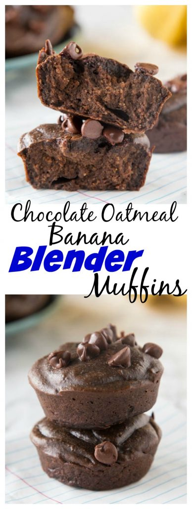Chocolate Banana Oatmeal Blender Muffins - gluten free, healthy, muffins that will get your day started right! Super quick and easy and the freezer well too!