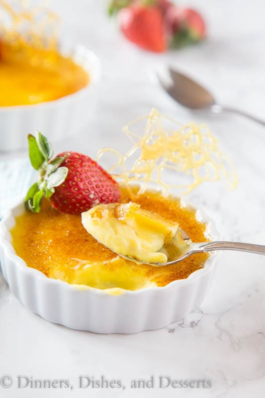 Creme Brulee - classic rich and creamy vanilla bean custard topped with caramelized sugar. Easier than you think, and will definitely impress!