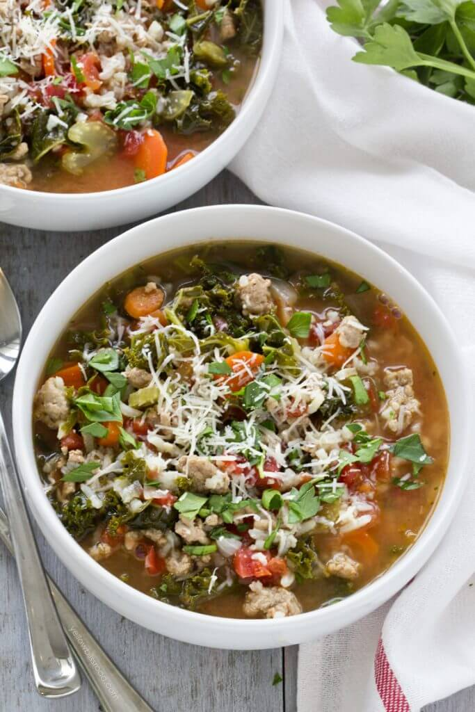 Turkey, Kale and Rice Soup {Yellow Bliss Road}