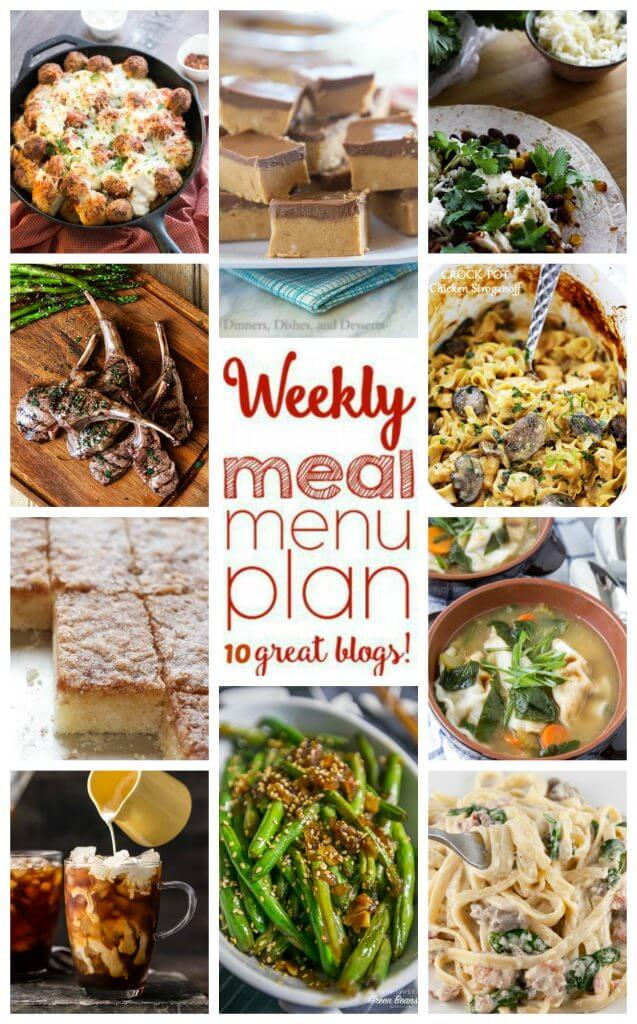 Weekly Meal Plan Week 37 - 10 great bloggers bringing you a full week of recipes including dinner, sides dishes, and desserts!