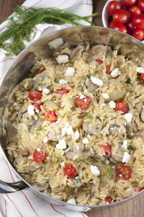 One Pan Creamy Orzo with Chicken Sausage {Wishes and Dishes}