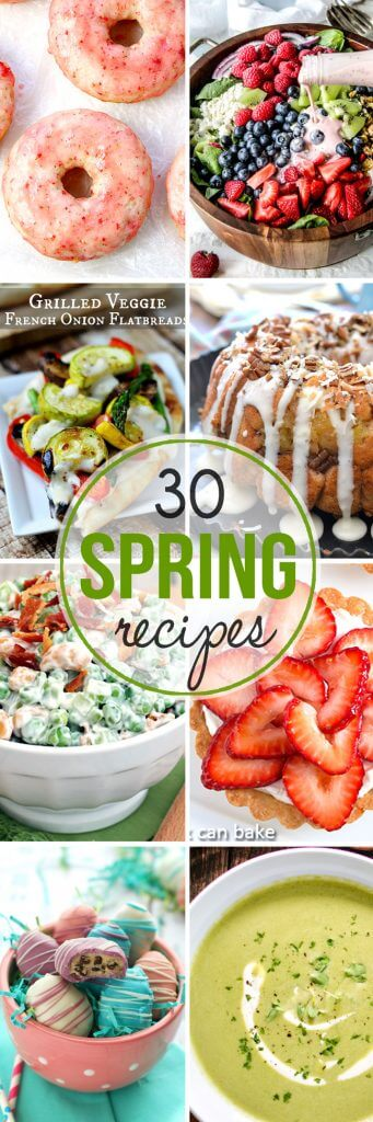 Over 30 great spring recipes to get your cooking and using lots of spring veggies and other ingredients!